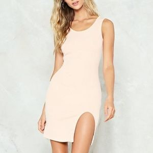 NASTY GAL BODY CON DRESS. Color NUDE